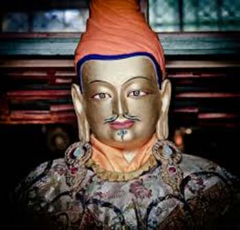 Statue of Songtsen Gampo in the temple on the tomb of Songtsen Gampo, Chongye-Yarlung Valley of Kings, Tibet
