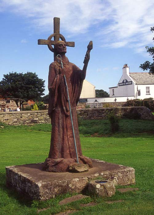 Statue of St.Aidan of Lindisfarne at Lindisfarne Priory