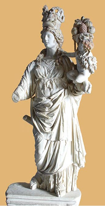 Statue of Tyche with Plutus. Istanbul Archeological Museum.