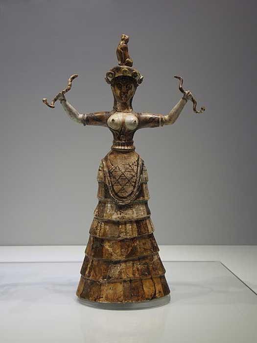 Statue of a Minoan snake goddess.