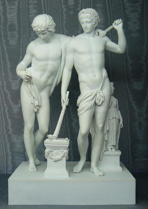 Statue of twins Castor and Pollux