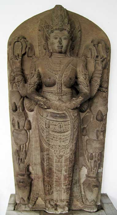 Statue representing Tribhuwanottunggadewi, queen of Majapahit (1328-1350). The statue originated from Rimbi temple, East Java, circa 14th century CE.