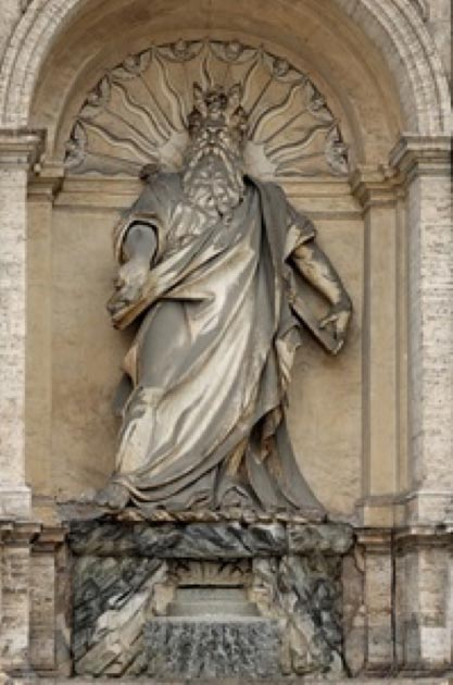 Statue of Moses by Leonardo Sormani and Prospero Antichi.  Acqua Felice fountain, in Rome. (Public Domain)