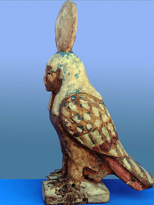 Statuette of the Ba-bird, a part-bird, part-human figurine depicting the 'soul of the deceased,' found inside the tomb. Credit: Ministry of Antiquities