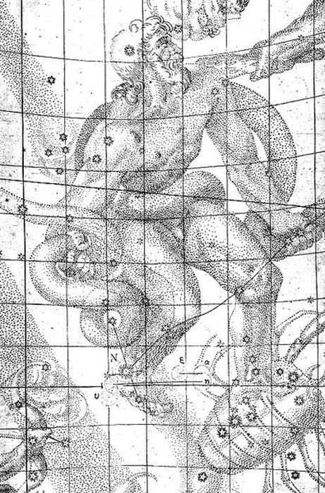 Illustration from Johannes Kepler's book 'De Stella Nova in Pede Serpentarii' (On the New Star in Ophiuchus's Foot) indicating the location of the 1604 supernova.