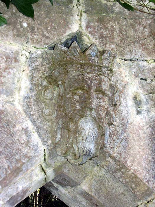 Stone carving of Ruaidrí Ua Conchobair from a doorway in the grounds of Cong Abbey