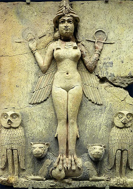 Stone carving of the goddess Ishtar from the Old Babylonian period (c. 1800 BC). (Hornbeam Arts / CC BY-NC 2.0)