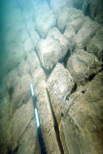 Stone feature in the submerged city.