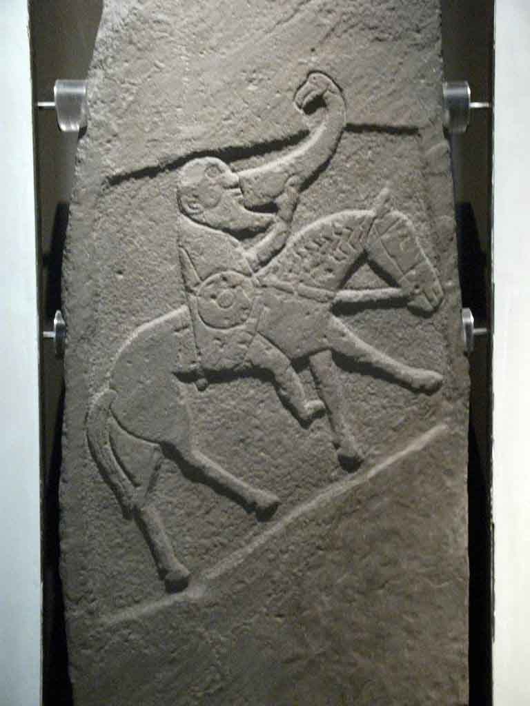 This Pictish stonework, on the famous Bullion Stone in Scotland, is generally thought to depict Drust I on a horse. (Johnbod / CC BY-SA 3.0)