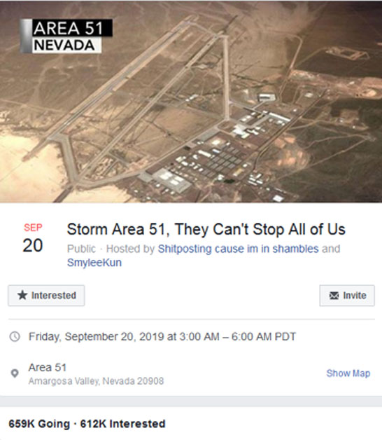 'Storm Area 51, They Can't Stop All of Us.' (facebook.com)