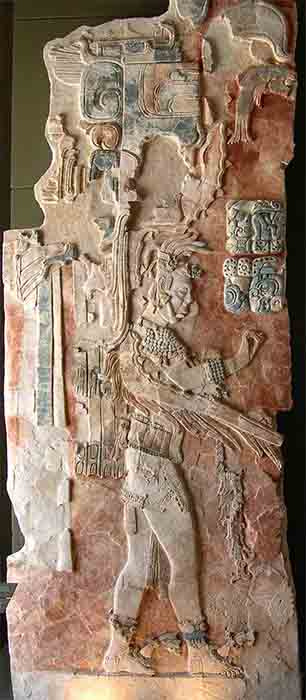 A painted stucco relief in the museum at Palenque, which is similar to the reliefs and mural depictions found at San Bartolo