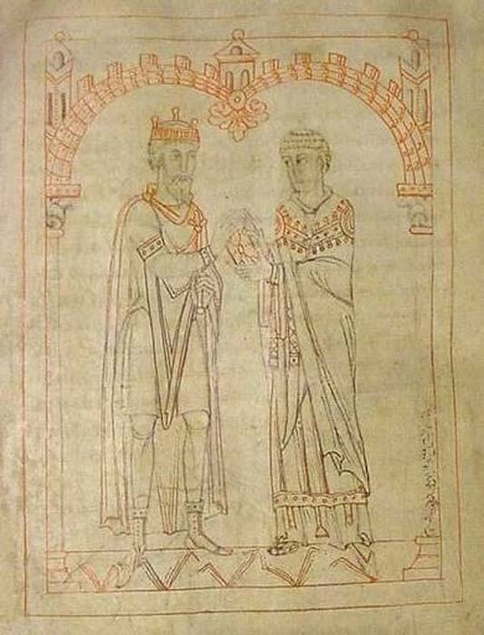 Suebian king Miro and Martin of Braga from an 1145 manuscript of Martin's 'De virtutibus quattuor.' (CC0)