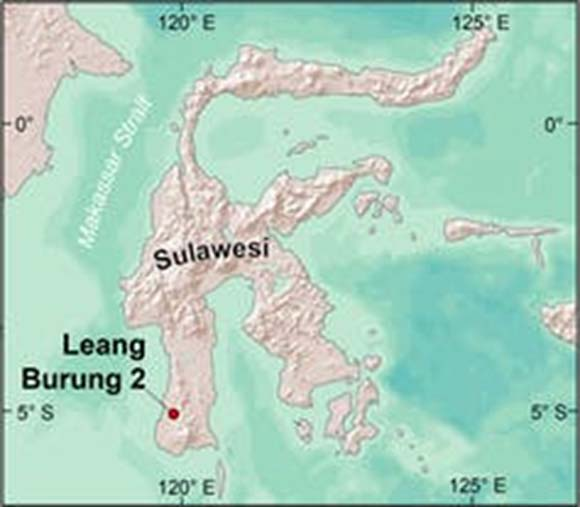 Sulawesi, showing the location of Leang Burung 2 rock-shelter. ESRI (right map), Author provided