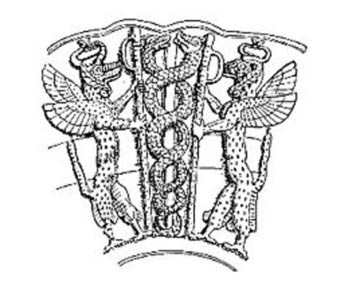 The Sumerian God, Ningizidda, represented as the double headed Snake coiled into a double helix