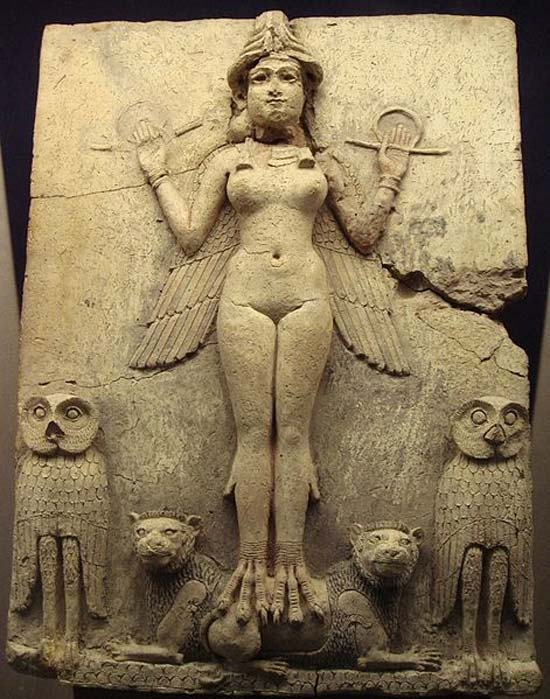 """Queen of the Night"" relief. The depicted figure could be an aspect of the goddess Ishtar (Sumerian: Inanna) Mesopotamian goddess of sexual love and war."