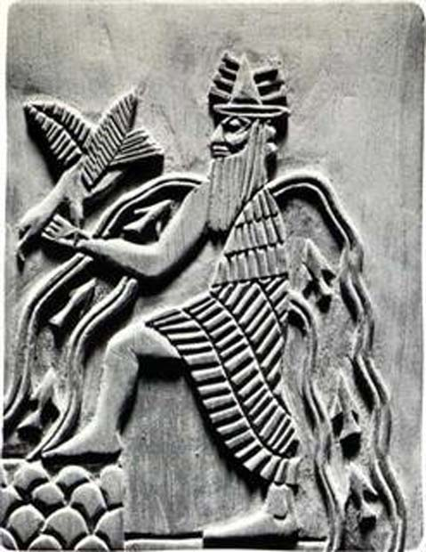 Image of the Sumerian god Enki. Modern reproduction of a detail of the Adda seal
