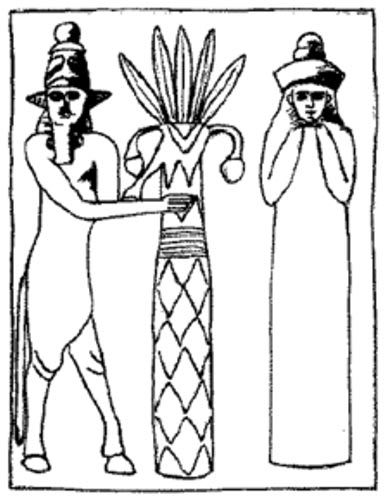 Reproduction of a seal representing the Sumerian god Enlil and his wife, the goddess Ninlil.
