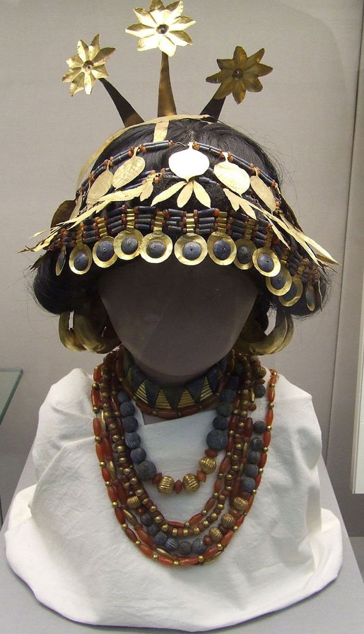 Reconstructed Sumerian headgear necklaces found in the tomb of Puabi, housed at the British Museum