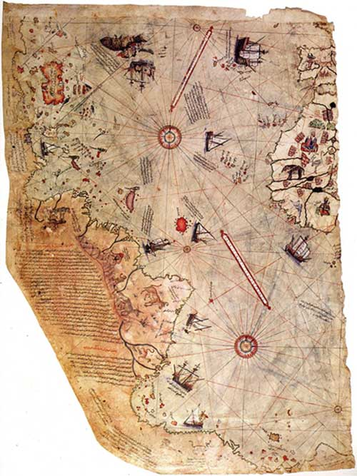 "Surviving fragment of the Piri Reis map showing the Central and South American coast. The appended notes say ""the map of the western lands drawn by Columbus (Public Domain)"
