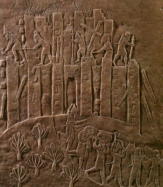 Ashurbanipal's campaign against nearby Susa is triumphantly recorded in this relief showing the sack of Susa in 647 BC.