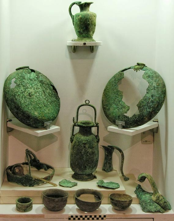 Symposium vessels of bronze, silver, and gold-silver from the tomb complex at Soloi, Cyprus.