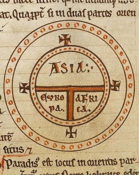 T and O style mappa mundi (map of the known world) from the first printed version of Isidorus' 'Etymologiae'.