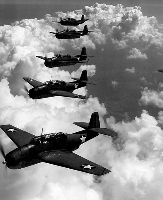TBF (Avengers) flying in formation over Norfolk, Va., September 1942.