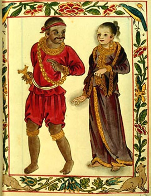 A Tagalog couple of the Maginoo (nobility) caste depicted in the 16th century Boxer Codex, Philippines.