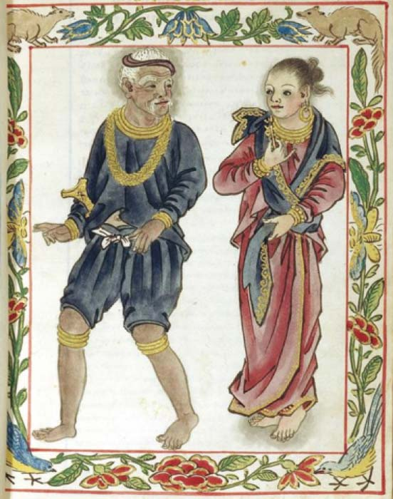 Tagalog maginoo (noble class) wearing blue (the distinctive color of his class) and his wife. (Public Domain)