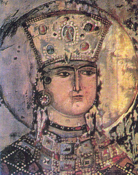 Tamar at the church of Dormition in Vardzia.