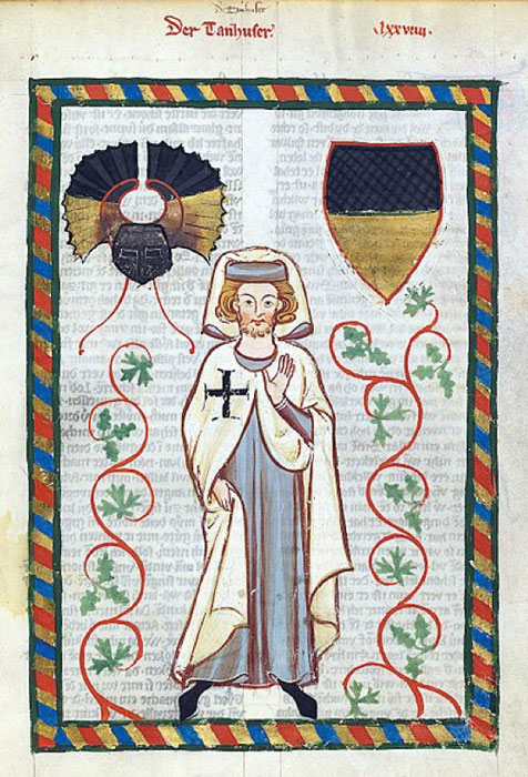 Tannhäuser, a German Minnesinger and poet, in the habit of the Teutonic Knights, from the 'Codex Manesse'. (Public Domain)