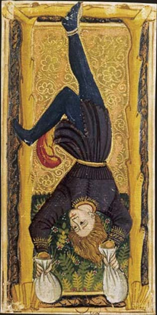 Tarot card – The Hanged Man, 15th century. (Public Domain)