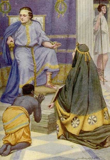Tarquinius Superbus receiving the Sibylline books from a prophetess