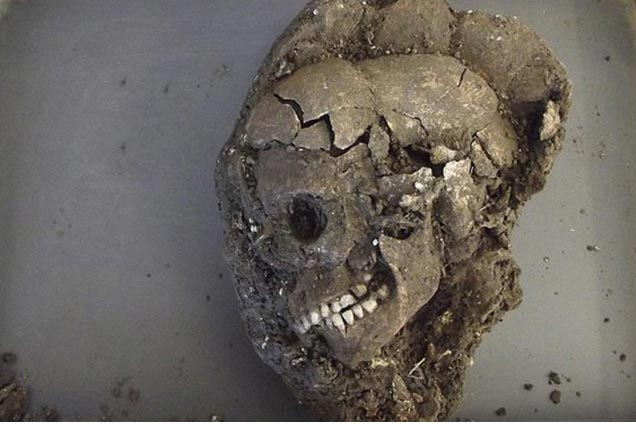 The teenager's skull after excavation; scientists hope to determine a lot about the person buried, such as diet, place of habitation, any diseases and cause and year of death. (Daily Mail