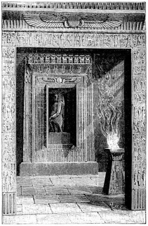 "Temple doors opened when a fire was lit upon the altar, pictured in the book ""Magic, Stage Illusions and Scientific Diversions Including Trick Photography"""