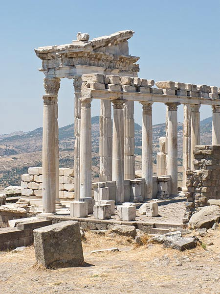 The reconstructed Temple of Trajan at Pergamon.