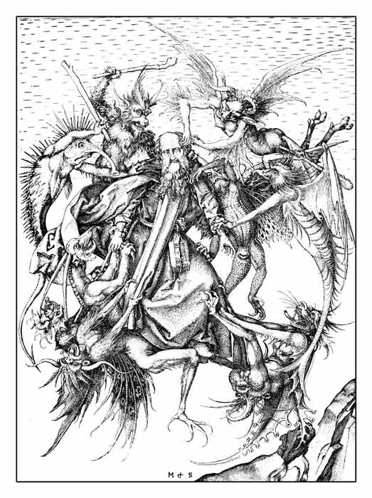 The Temptation of St Anthony (1470 AD engraving) in which the Christian monk Anthony the Great faces temptation is his desert pilgrimage, much like the trials St Guthlac experienced in the marshes of Crowland. (acrogame / Adobe Stock)