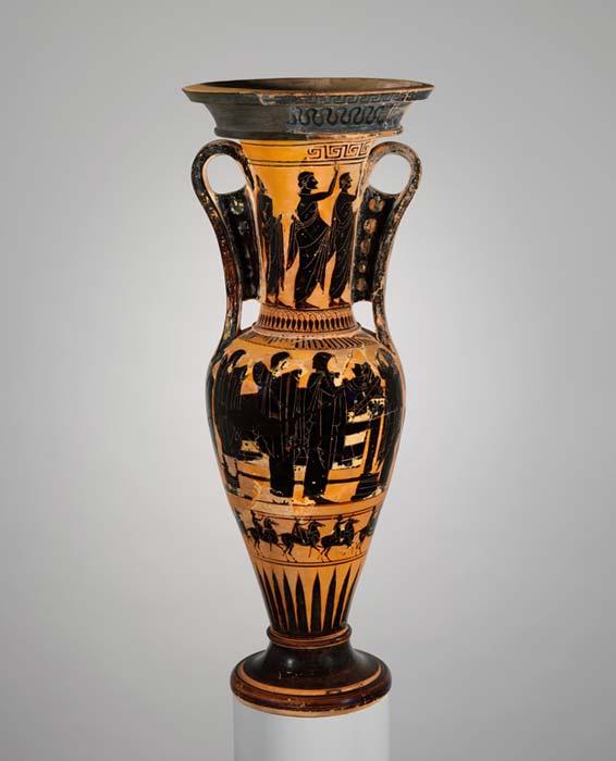 Terracotta loutrophoros depicting body in prosthesis, 6th century BC, Greek.  Met Museum
