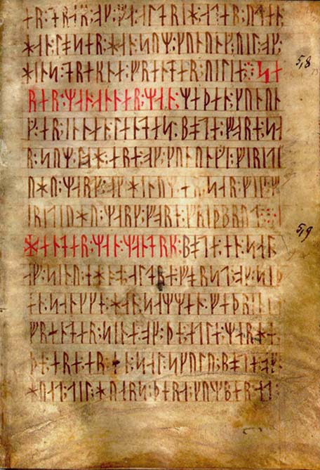 Text known as Codex runicus, a vellum manuscript from c. 1300 containing one of the oldest and best preserved texts of the Scanian law (Skånske lov), written entirely in runes.