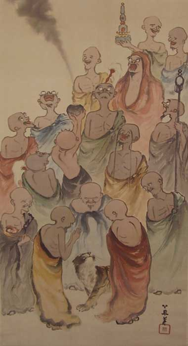 The 16 Arhats, depicted, may have visited the site that the Phugtal Monastery is now built upon