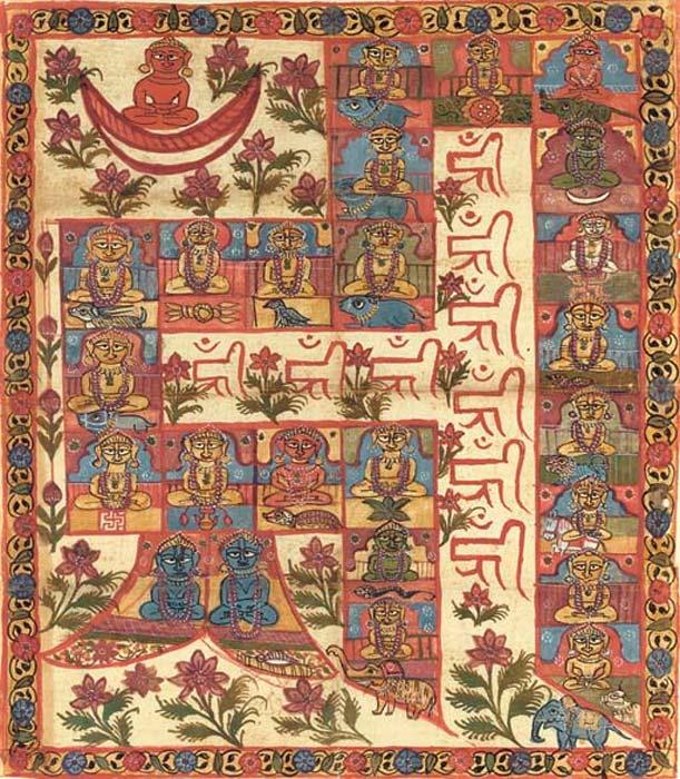 The 24 Tirthankaras form the tantric meditative syllable HRIM, Gujarat, 1800's