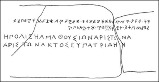 The Amathus Bilingual. Source: Gordon, Cyrus H. 'Forgotten Scripts'. 2nd ed. New York: Dorset, 1987. 145. [Print]