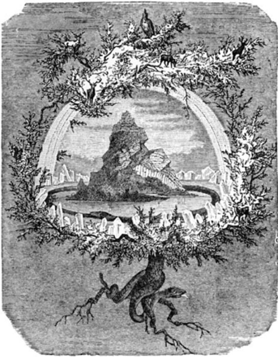 """The Ash Yggdrasil"". The world tree Yggdrasil and some of its inhabitants. Wägner, Wilhelm (1886)"