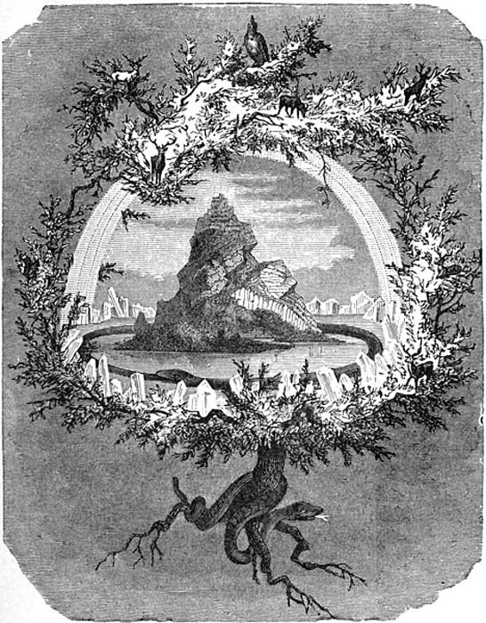 "The Ash Yggdrasil"". The Norse world tree Yggdrasil and some of its inhabitants (1886) by Friedrich Wilhelm Heine. (Public Domain)"