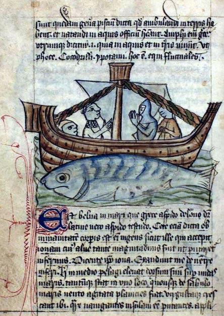 The Aspidochelone lures hapless mariners to land on its back. Danish Bestiary, c. 1633