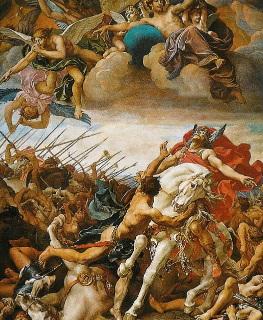The Battle of Tolbiac, painted by Joseph Blanc in the 19th century, depicted warfare between the Franks and Alamannis.