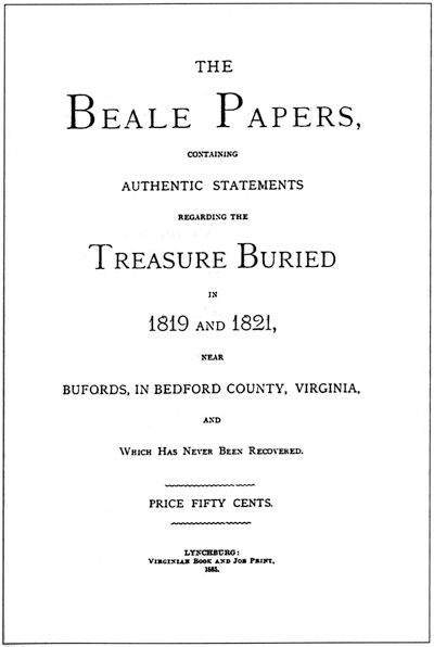 Cover of 'The Beale Papers'. (Public Domain)