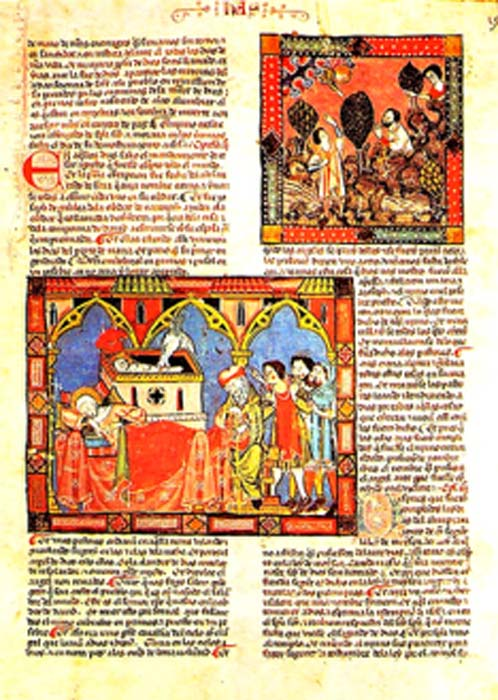 The Códice del Escorial (1272-1284) from Spain. Medieval manuscripts often used red-orange minium pigment in the letters of the text and for small illustrations, called miniatures. (Escarlati / Public Domain)