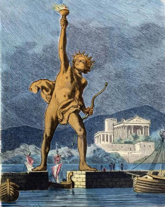 'The Colossus of Rhodes straddling over the harbor' (1886) painting by Ferdinand Knab. (Public Domain)