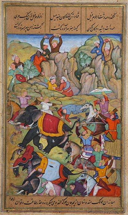 The Defeat by Timur of the Sultan of Delhi, Nasir Al-Din Mahmum Tughlaq, in the winter of 1397-1398. (Stuntelaar / Public Domain)
